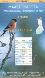 Maastokartta W524 Sevettijärvi 1:50 000